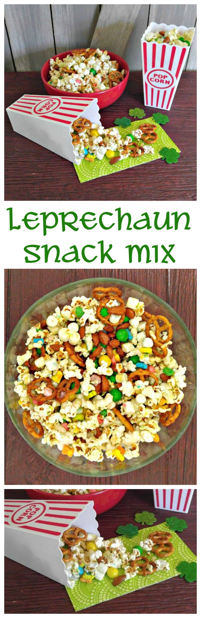 This Leprechaun snack mix is the prefect sweet and salty party treat. It is easy to make and fun to serve.