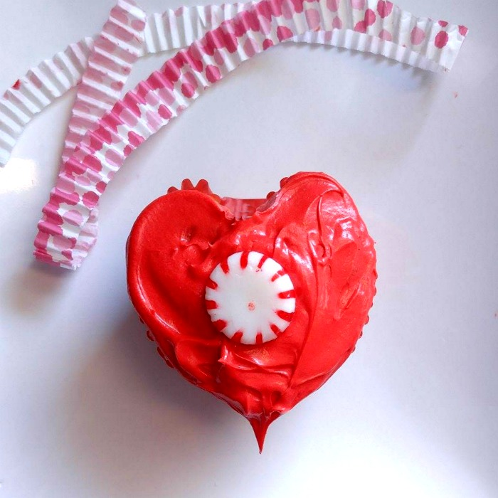 Peppermint hearts in a heart shaped cupcake