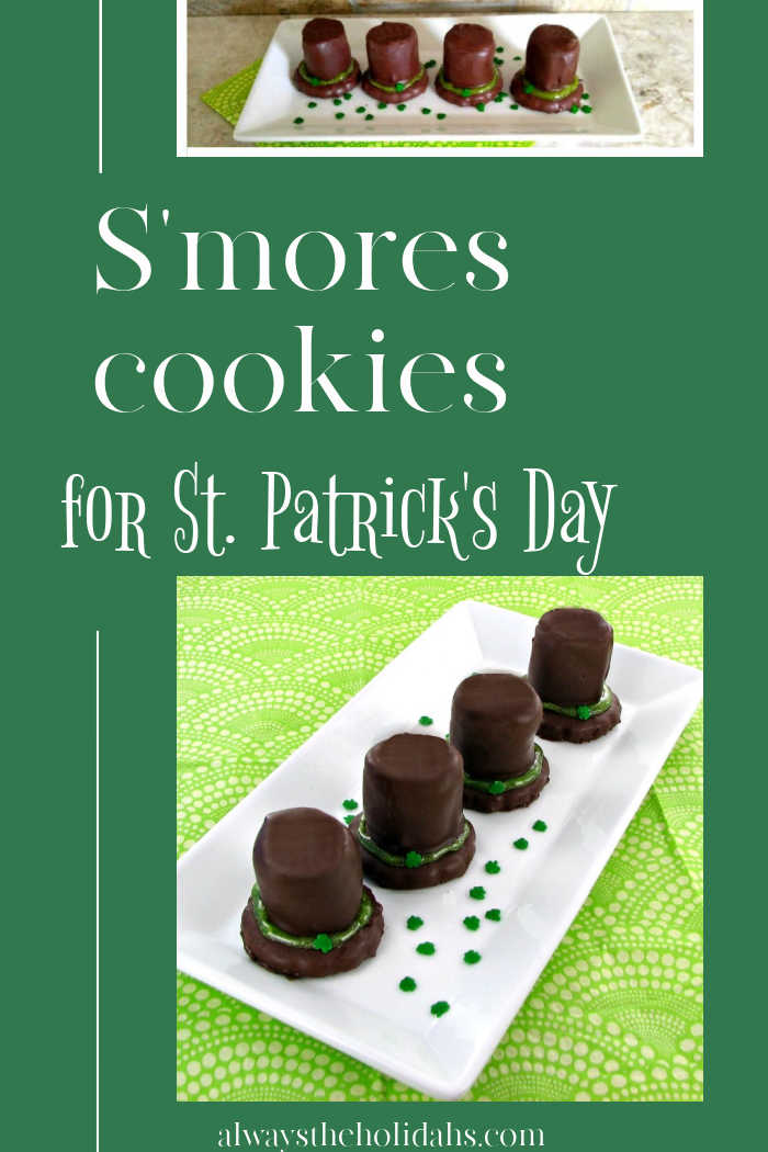 "Leprechaun hat cookies on a plate with text overlay reading "" 'S'mores cookies for St. Patrick's Day."""