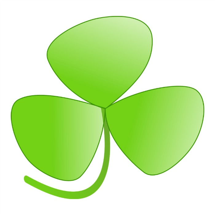 The three leaf clover symbolizes the Holy Trinity and is the true symbol for St. Patrick's day.
