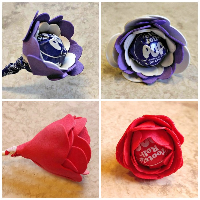 Rosebud red and purple white Tootsie Pop Flower Valentines