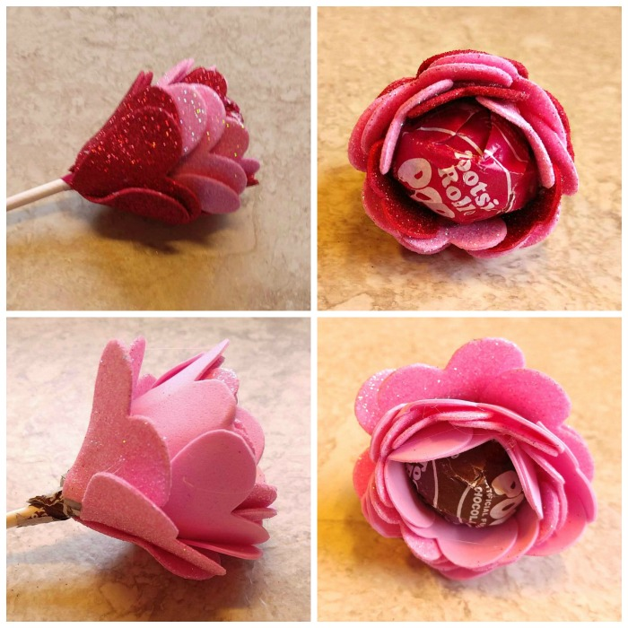 plain pink and red pink Tootsie Pop Flower Valentines