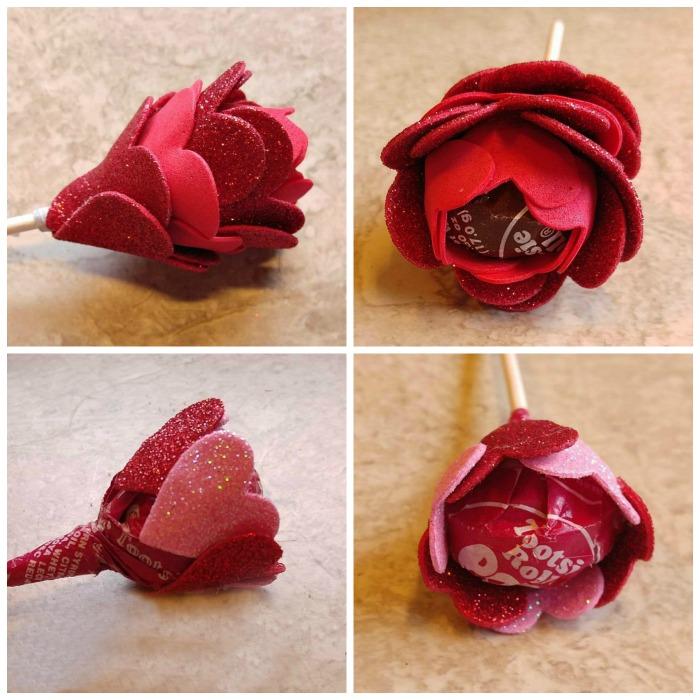 red glitter and red pink Tootsie Pop Flower Valentines
