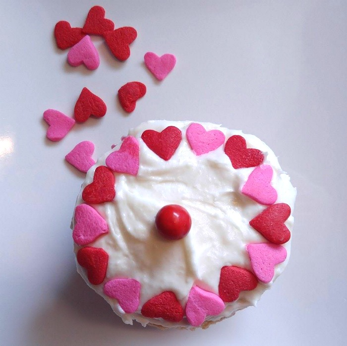 Wilton heart sprinkles on a Valentine Cupcake