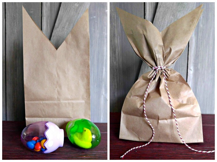 Add the treats and tie the Easter Bunny gift bag