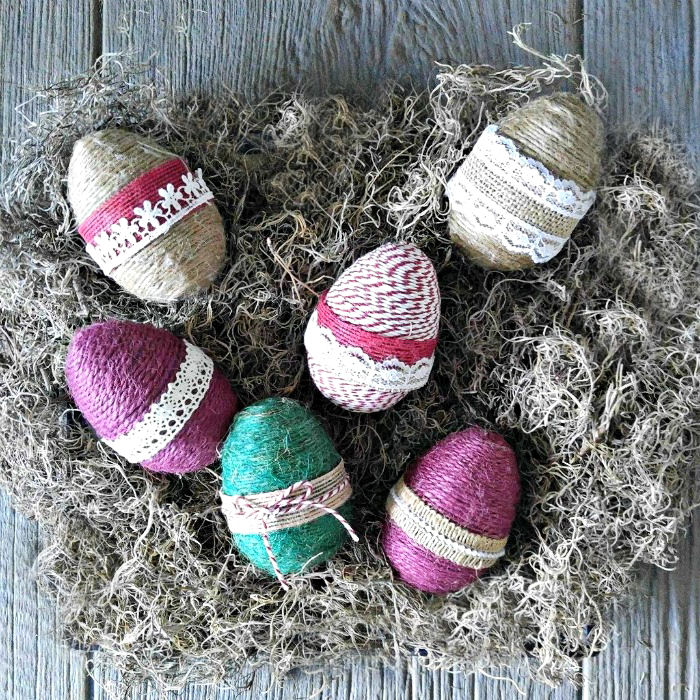 Rope wrapped eggs are great for both Easter and spring decor.