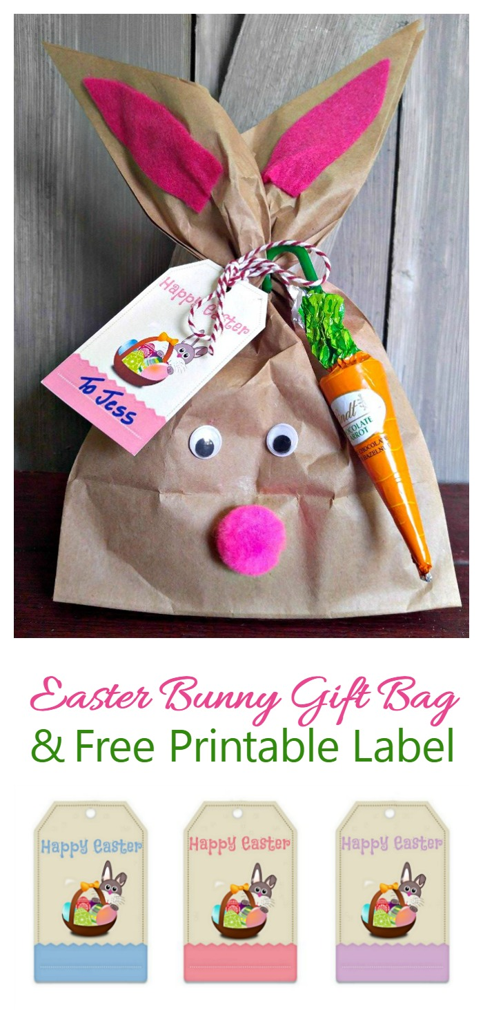 Easter bunny gift bag with a free gift tag printable always the this easter bunny gift bag takes only 15 minutes to make and cost me less than negle Images