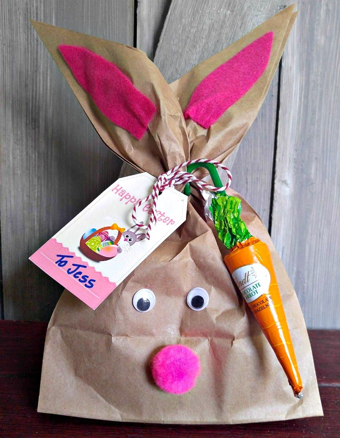 Easter Bunny gift bag with label and carrot