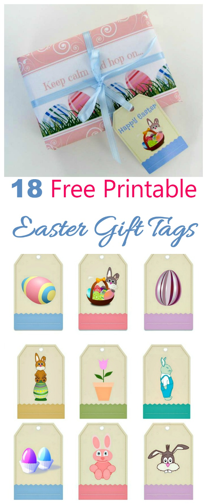 These free printable Easter gift tag labels will add a personalized touch to all your Easter gifts. There are 18 designs and even a small piece of wrapping paper.