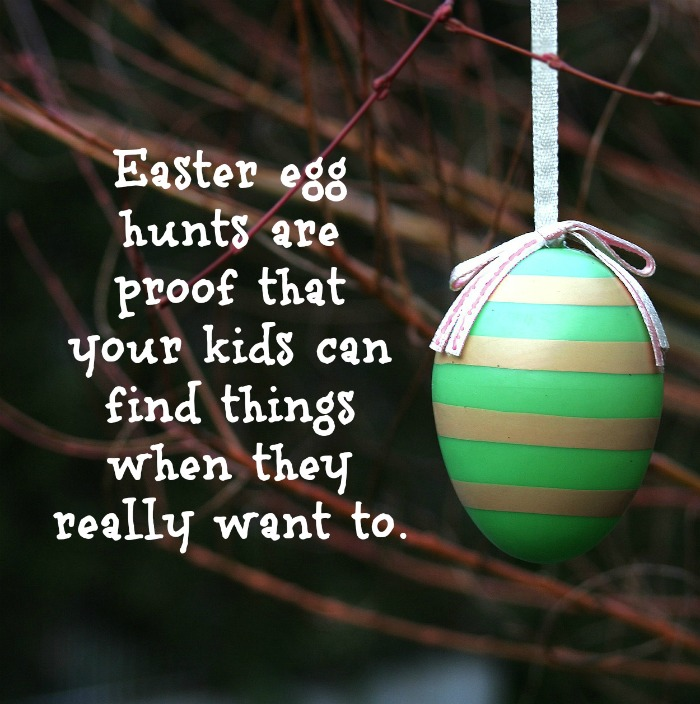 Easter kid's quote on top of a photo of a green and gold striped Easter egg hanging from a bare tree.