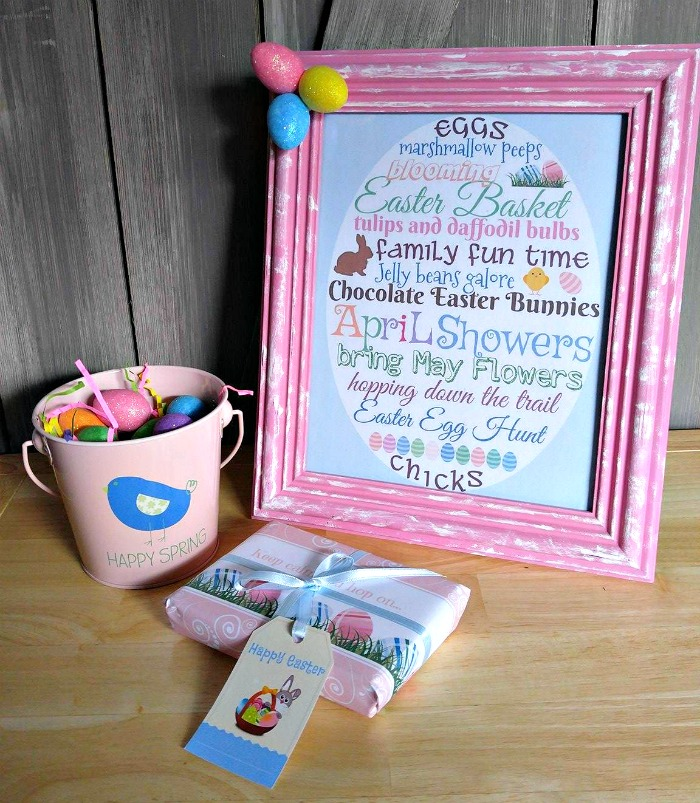Easter printable in a pink frame with pail of Easter eggs