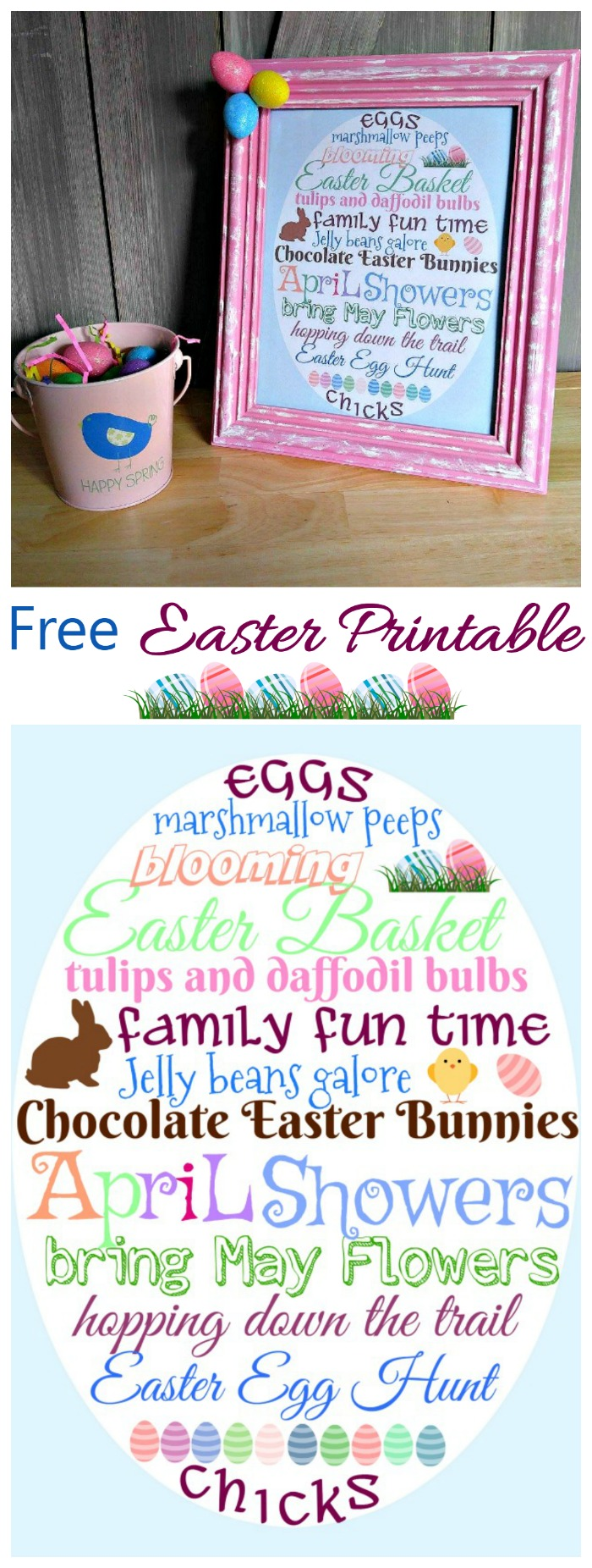 This free Easter Printable has all your Favorite Easter words in the shape of an Easter Egg. Frame it for a home decor look.