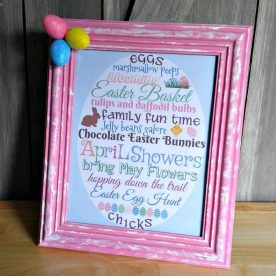 Framed Easter Printable in a pink frame