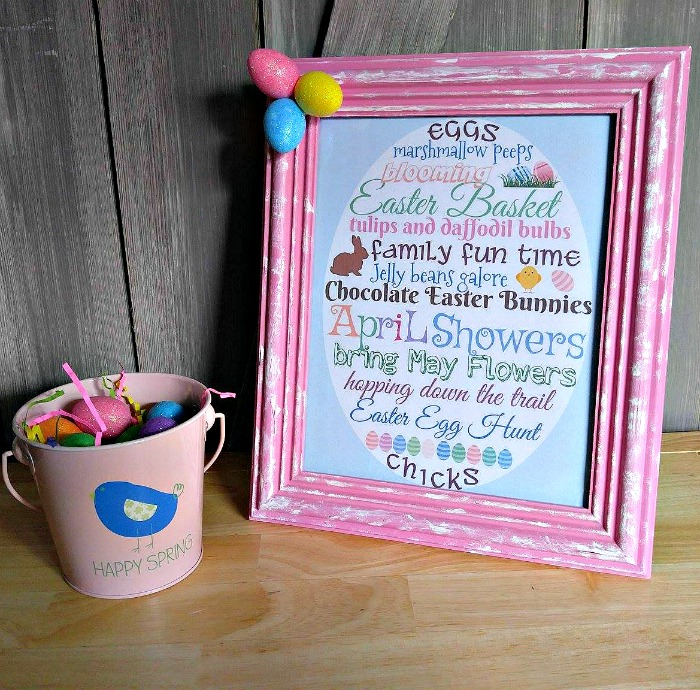 Framed Easter Printable with a pail of Easter Eggs