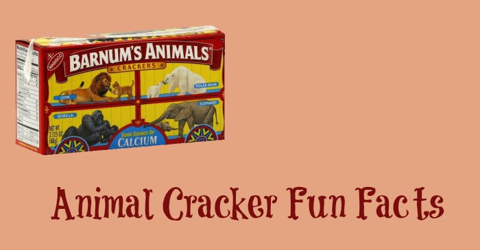 "A peach colored background with the text ""Animal cracker fun facts"" on it under a box of Barnum's Animals crackers."