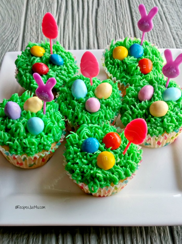 Easter cupcakes with grass frosting