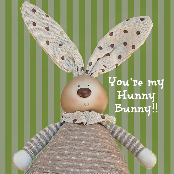 Cute Easter quote over the photo of a cloth bunny wearing brown and white polkadots and stripes against a green and white striped background.