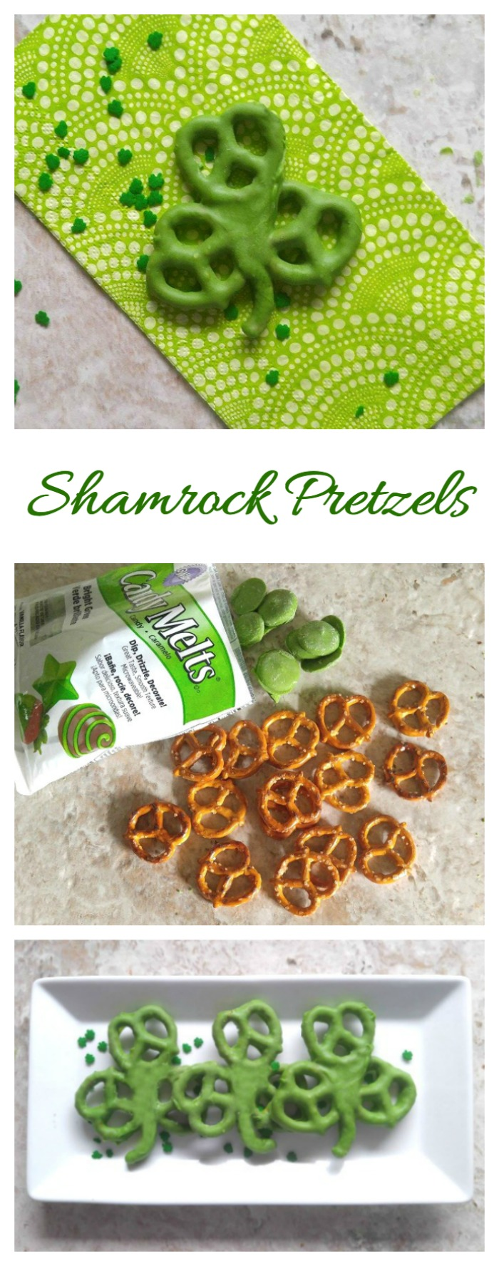 These Shamrock pretzels are a fun sweet and salty treat for St. Patrick's Day. They need only two ingredients!