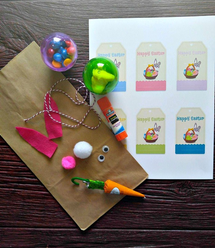supplies for the Easter Bunny gift bag