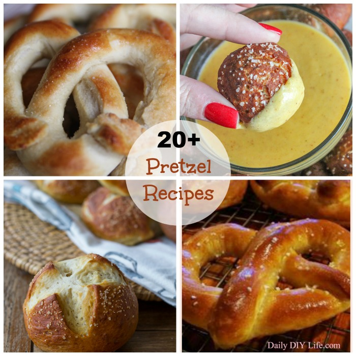 These 20 Homemade Pretzel Recipes feature savory and sweet pretzel recipes as well as seasonal and sweet dessert recipes using pretzels.