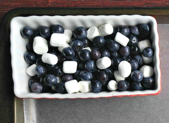 Bowl of blueberries and marshmallows for the stars