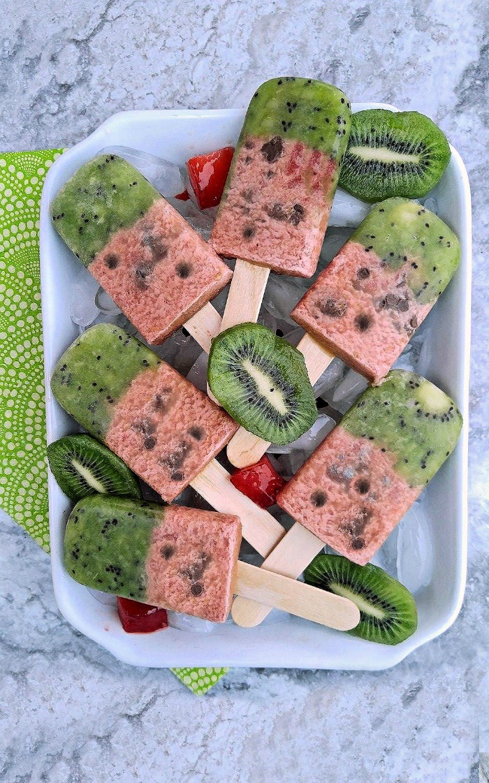 These kiwi watermelon pops are sweet and hydrating with a crunch from some chocolate chips.