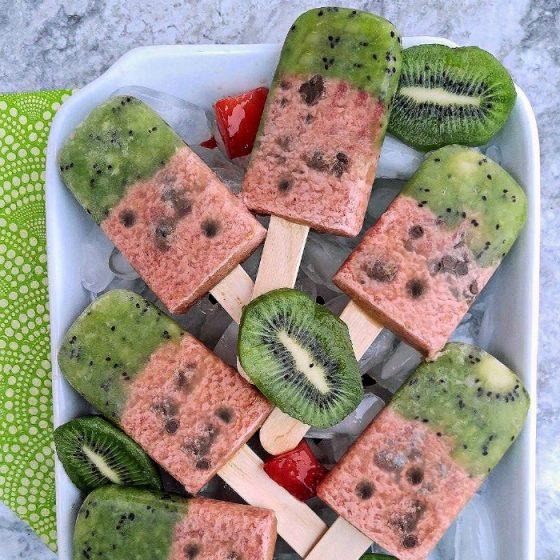 WAtermelon popsicles with kiwi fruit