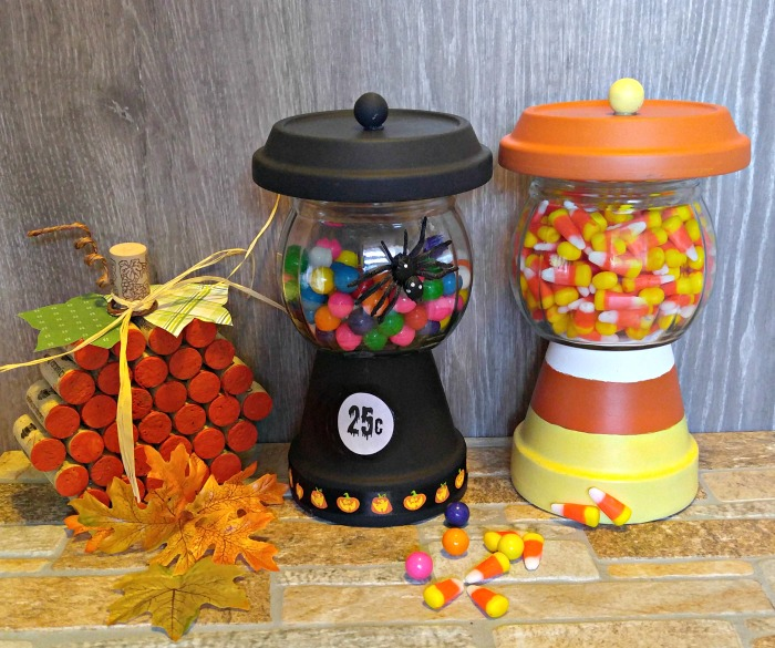 Bubble gum machine and candy corn holder