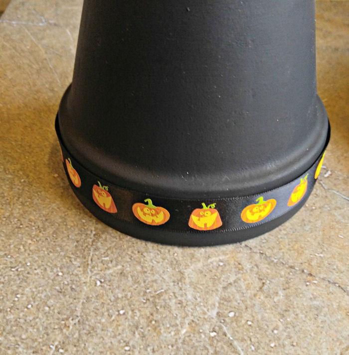 Add the pumpkin ribbon