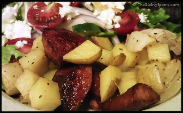 Roasted kielbasa and potatoes from therisingspoon.com
