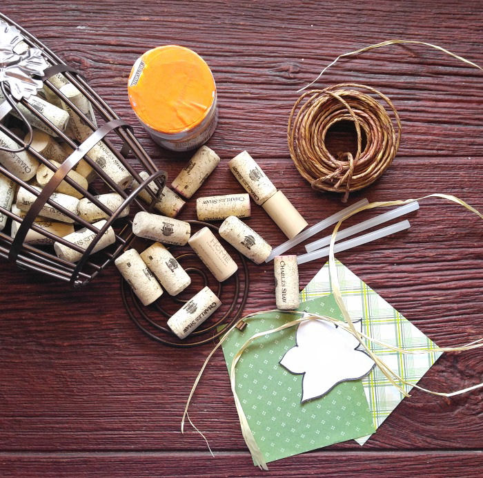 Materials for DIY wine cork pumpkin
