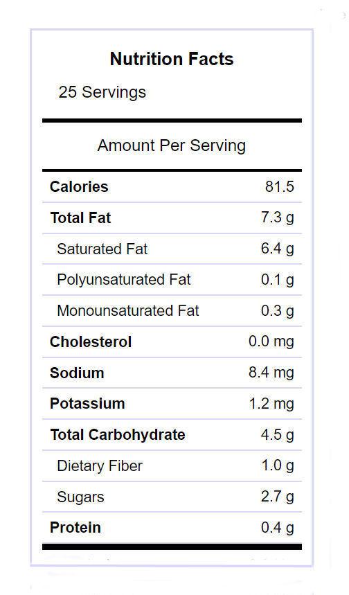 Salted Pumpkin Fudge nutritional info