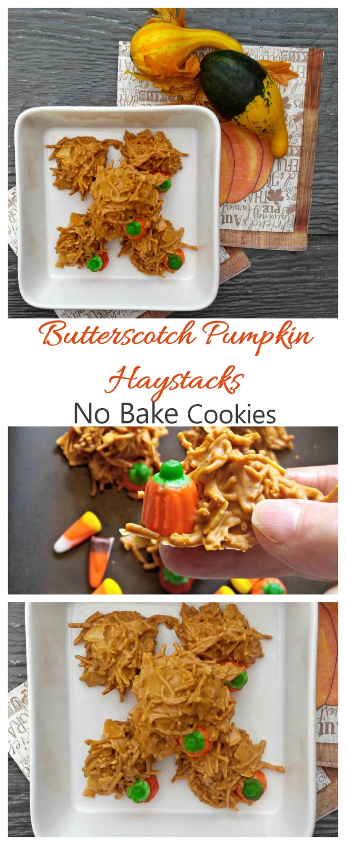 These pumpkin haystack cookies are made with chow mien noodles and butterscotch. I love the addition of the candy pumpkins. #butterscotchhaystacks #pumpkincookies
