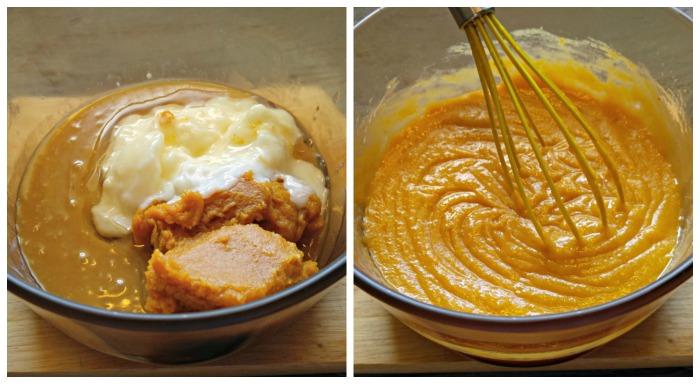 Add the coconut oil and pumpkin puree