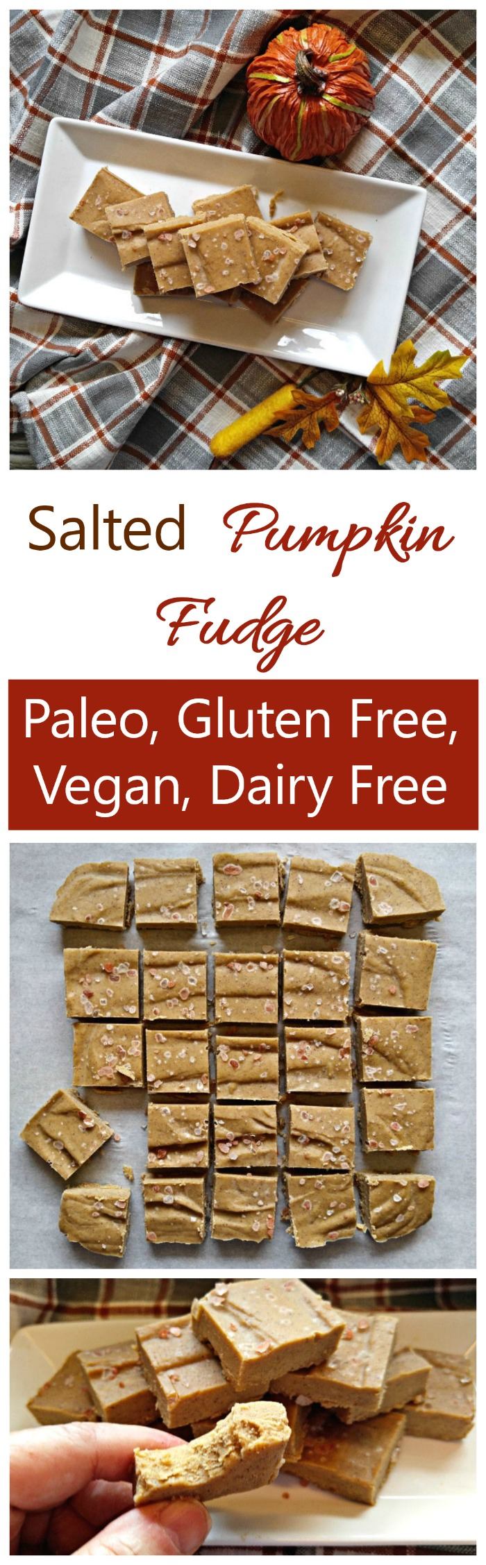 This Salted Pumpkin Fudge is creamy and tangy with the perfect consistency. It is #vegan, dairy free, soy free and #glutenfree. Clean eating at its best! #pumpkinfudge