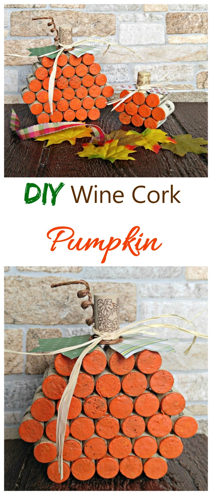 These DIY wine cork pumpkins are super easy to make and very festive. They look great in any fall vignette. #falldecor #diypumpkins