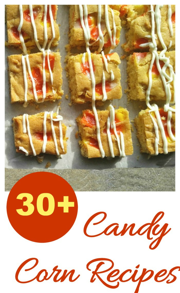 Over 30 recipes featuring candy corn for Halloween or Thanksgiving.