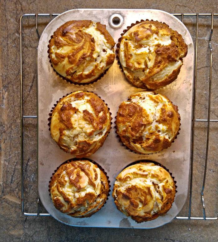 Cooked pumpkin swirl muffins