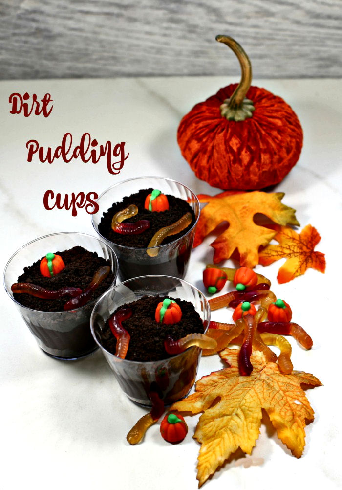 """pudding with pumpkin and leaves and text reading """"dirt pudding cups."""""""