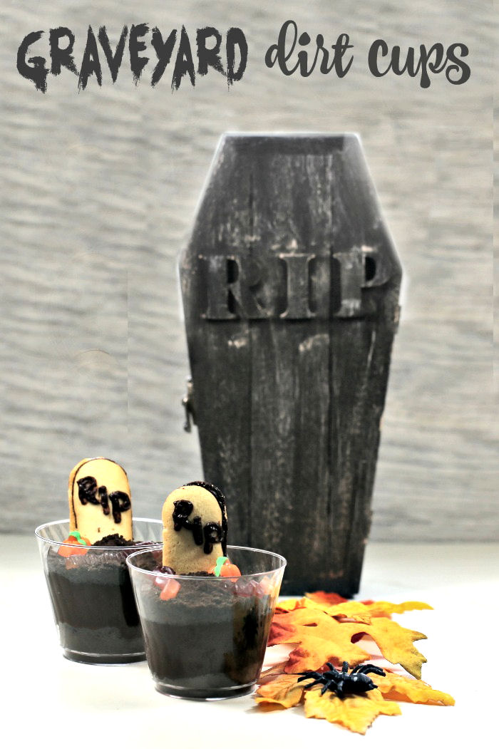 Graveyard dirt cups with leaves and coffin.