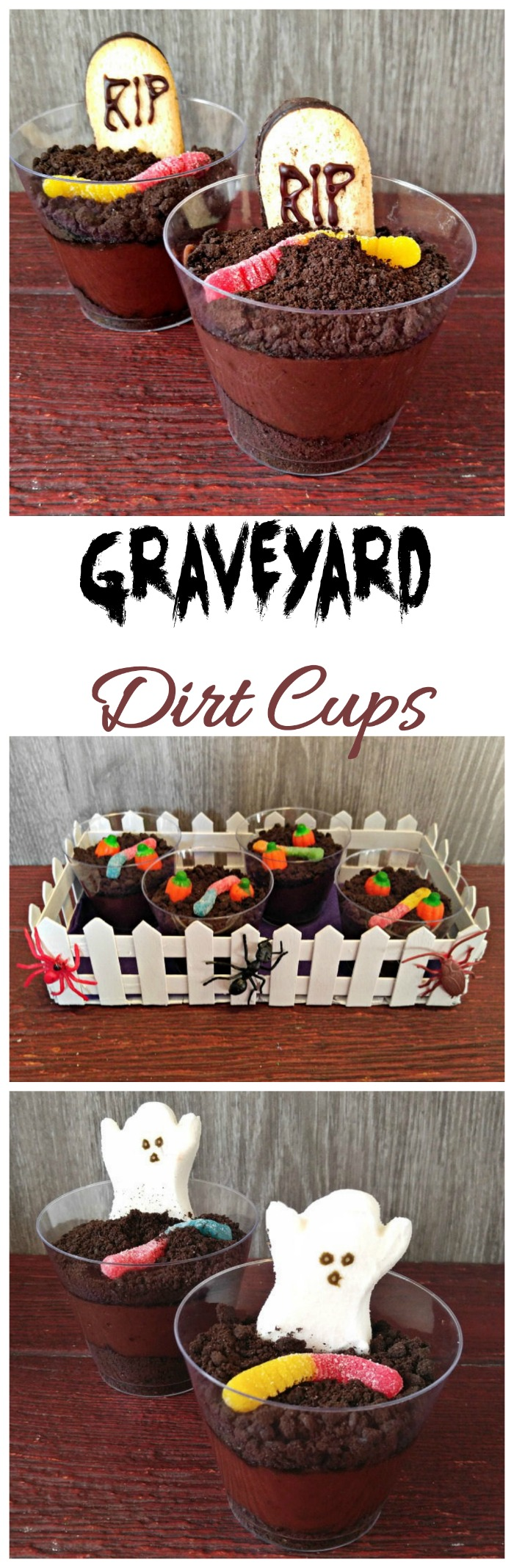 These Halloween dirt cups are spooky and tasty and such fun to make. #dirtcups #halloweentreats