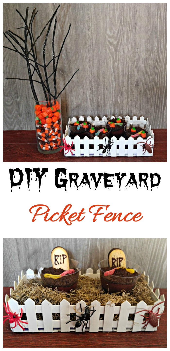 This Halloween graveyard picket fence is made from craft sticks and makes a great Halloween table centerpiece. #halloween #graveyard