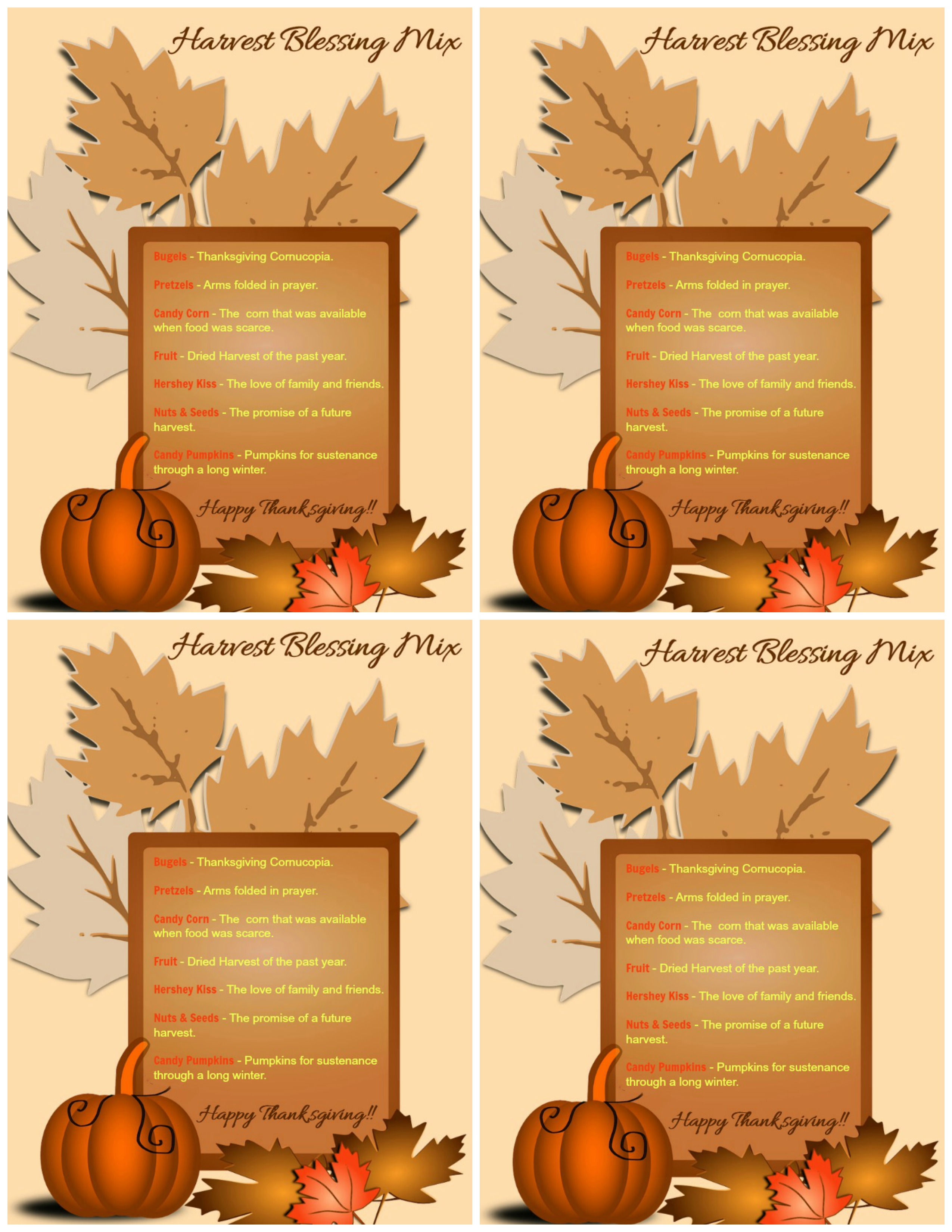 Harvest Blessing printables for snack bags