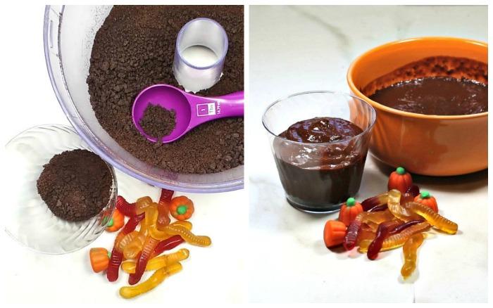Making a dirt cup dessert.