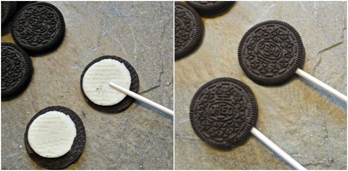 Adding sticks to Oreo cookies