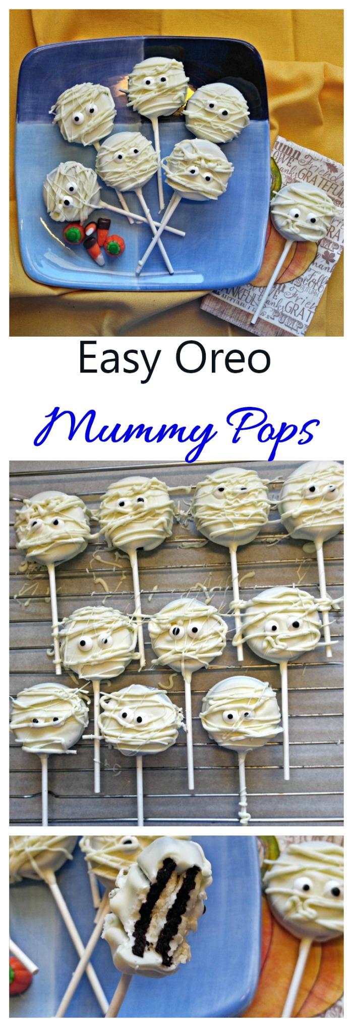 These Oreo mummy pops are super quick to make and taste amazing. #mummypops #halloweencookies