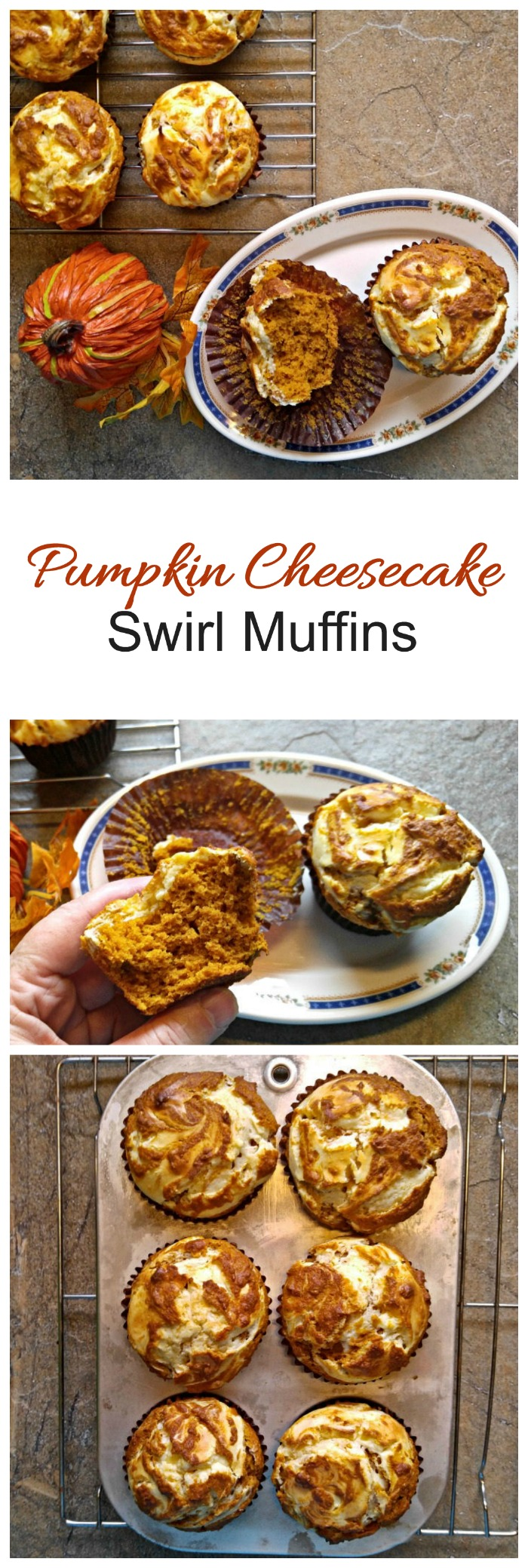 These pumpkin cheesecake muffins have a cream cheese swirled topping. #nationalpumpkinday #pumpkinmuffins