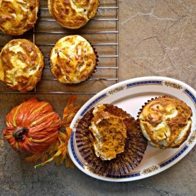 Fluffy pumpkin muffins with cheesecake topping