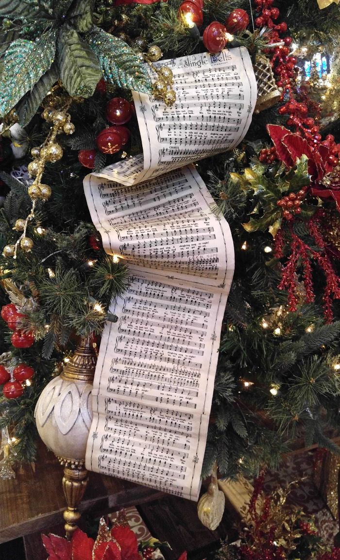 Sheet music on a Christmas tree