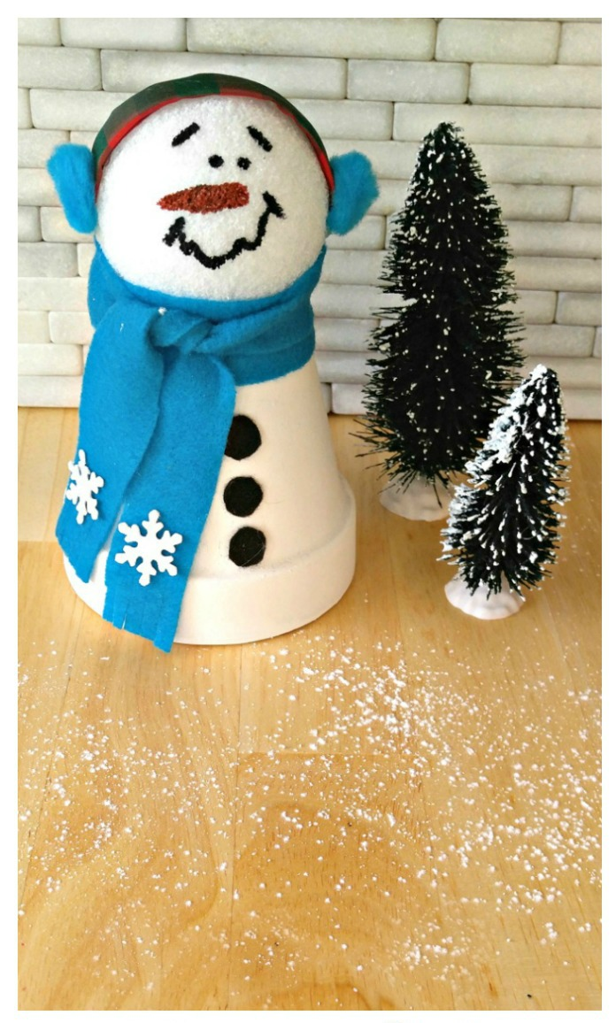This cute snowman is made from clay pots and is ready to display in just minutes.
